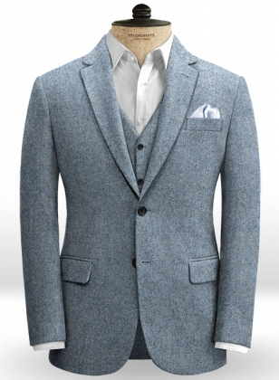 Light Blue Herringbone Tweed Jacket