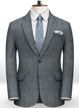 Milan Blue Feather Tweed Jacket