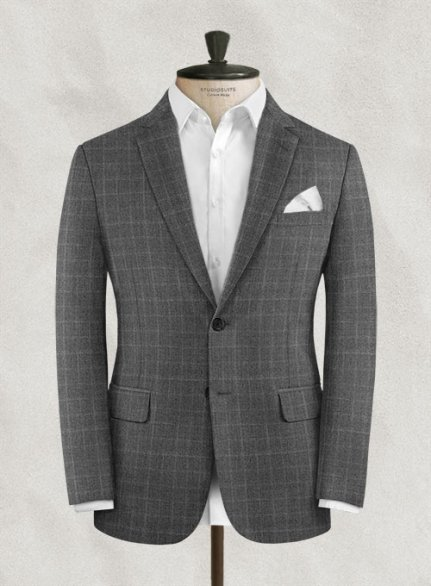 Charles Clayton Lulio Gray Checks Wool Jacket