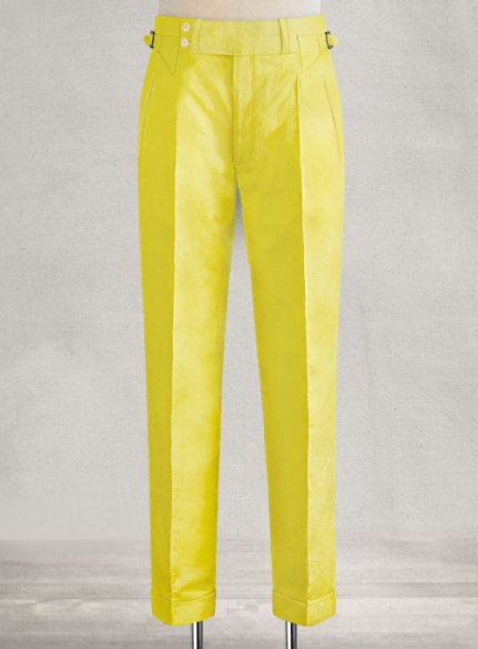 Safari Yellow Cotton Linen heritage Trousers
