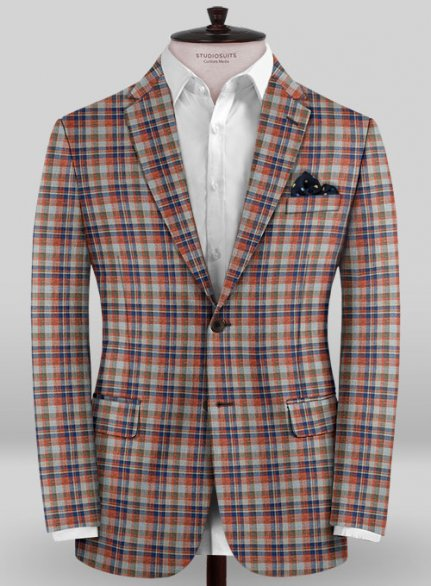 Scabal Taormina Abio Red Checks Wool Jacket