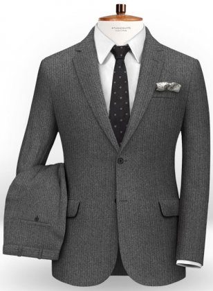 Herringbone Gray Flannel Wool Suit