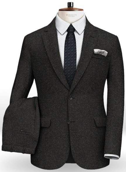 Light Weight Hamburg Charcoal Tweed Suit- Ready Size
