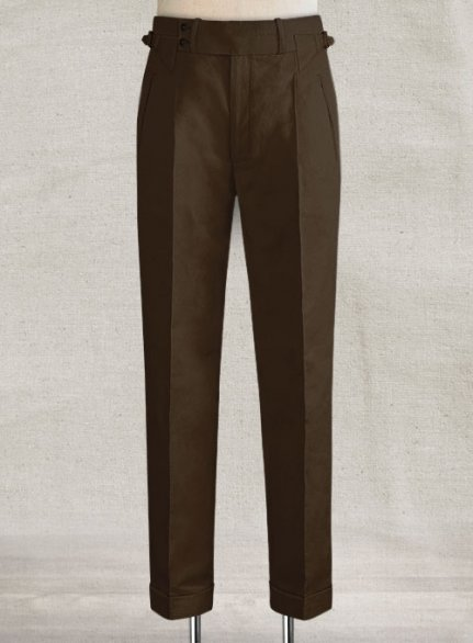 Safari Brown Heritage Cotton Linen Trousers
