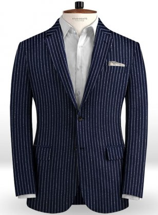Solbiati Dark Blue Stripes Linen Jacket