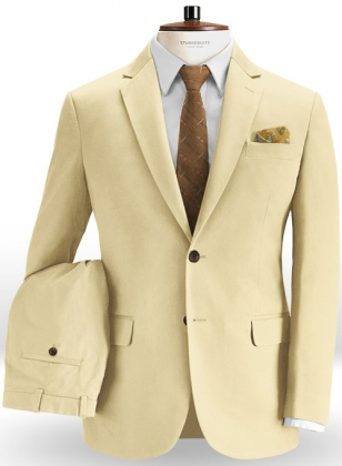 Stretch Summer Weight Light Khaki Chino Suit