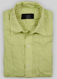 Pure Ocean Green Linen Shirt - Full Sleeves