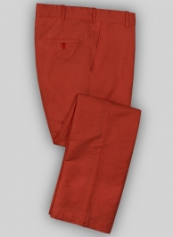 Washed Red Safari Cotton Linen Pants