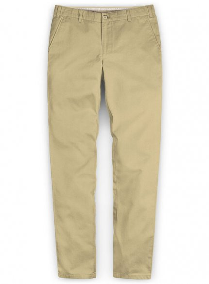 Washed Beige Feather Cotton Canvas Stretch Chino Pants