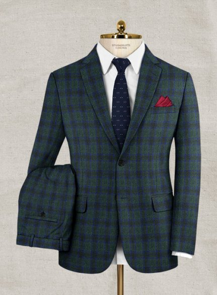 Italian Wool Cashmere Pramo Green Checks Suit