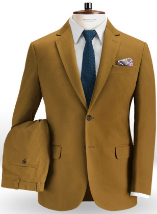 Summer Weight Dark Khaki Chino Suit