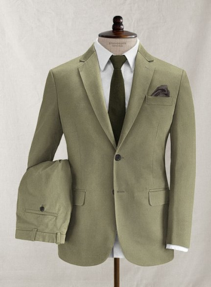 Italian Brushed Cotton Brookside Green Suit
