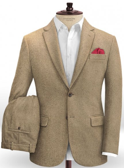 Light Weight Light Brown Tweed Suit- Ready Size