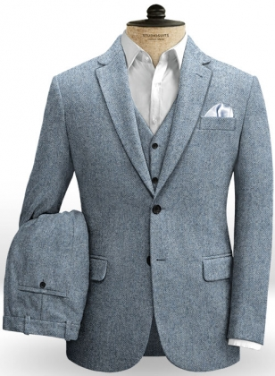 Light Blue Herringbone Tweed Suit