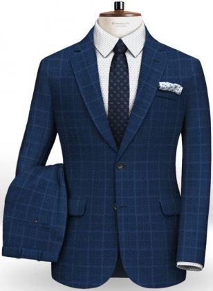 Pisa Blue Feather Tweed Suit