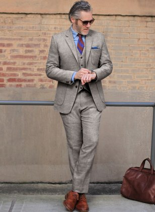 Light Weight Brown Tweed Suit- Ready Size