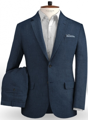 Safari Blue Cotton Linen Suit