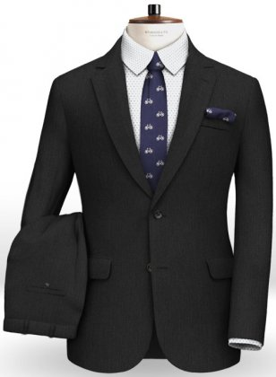 Napolean Sombre Black Wool Suit