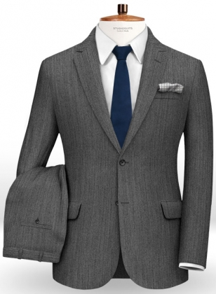 Herringbone Wool Mid Gray Suit