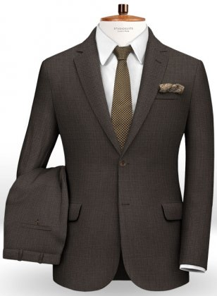 Dogtooth Wool Brown Suit