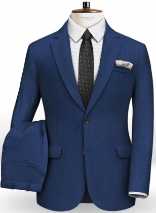 Italian Flannel Lance Blue Wool Suit
