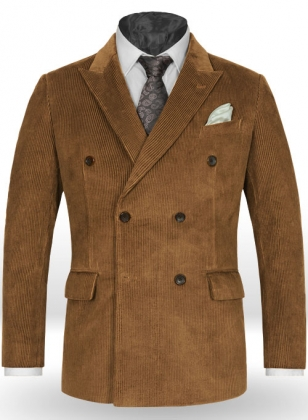 Camel Thick Corduroy Double Breasted Jacket