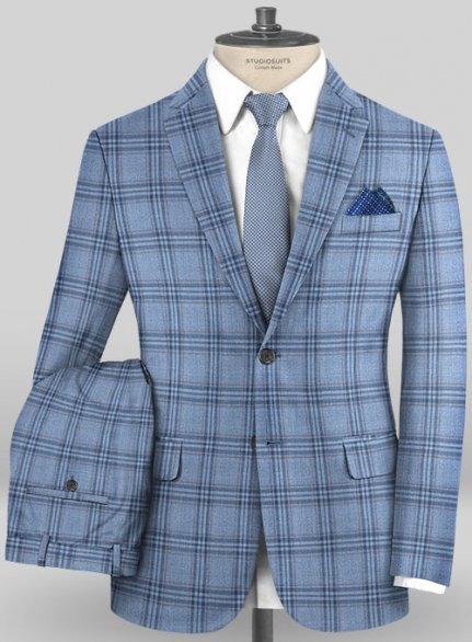 Scabal Mosaic Gazini Blue Wool Suit