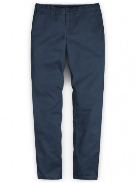 Washed Royal Blue Feather Cotton Canvas Stretch Chino Pants