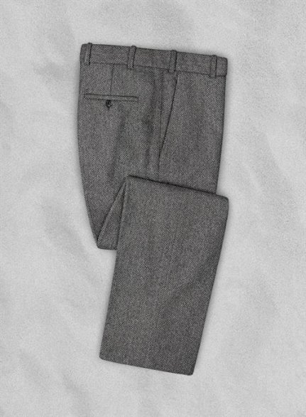 Vintage Herringbone Gray Tweed Pants