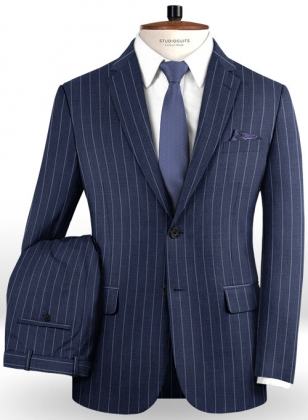 Napolean West Blue Wool Suit