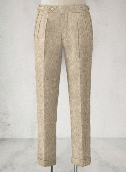 Vintage Herringbone Light Beige Highland Tweed Trousers