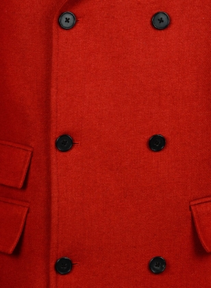 Vintage Plain Red Tweed GQ Trench Coat