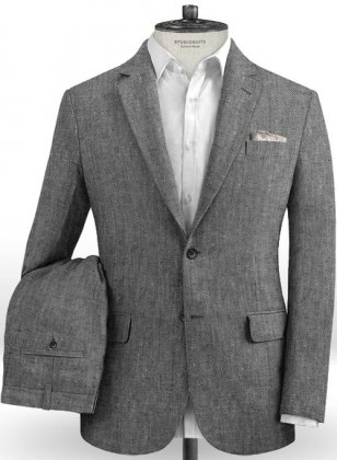 Italian Carbon Black Twill Linen Suit
