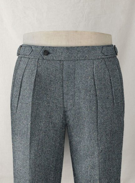 Mid Blue Herringbone Flecks Donegal Highland Tweed Trousers