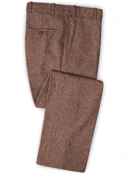 Galway Wine Herringbone Tweed Pants