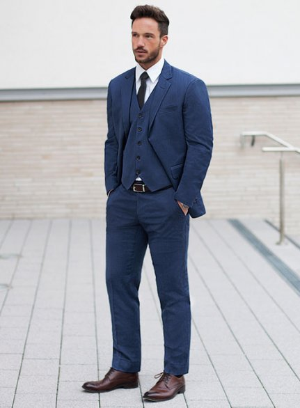 Napolean Persian Blue Wool suit - Ready Size