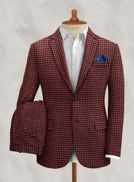 Italian Cerise Houndstooth Tweed Suit