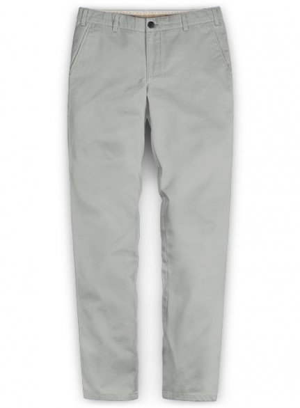 Washed Light Gray Feather Cotton Canvas Stretch Chino Pants