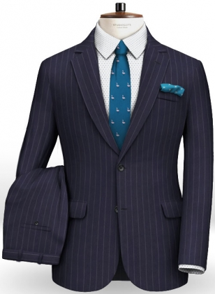 Blue Stripe Flannel Wool Suit