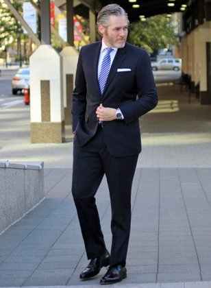 Navy Blue Merino Wool Suit- Ready Size