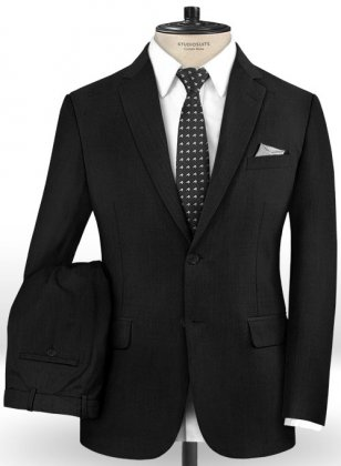 Stretch Black Wool Suit