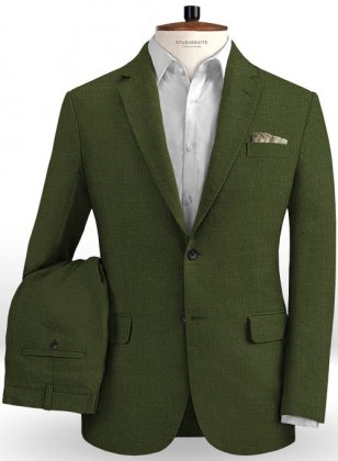 Safari Olive Green Cotton Linen Suit