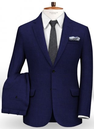 Ink Blue Cotton Wool Stretch Suit