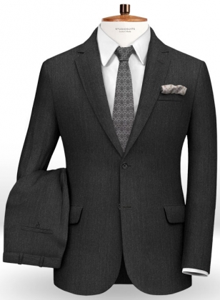 Herringbone Wool Charcoal Suit