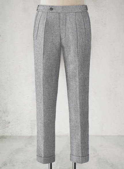 Vintage Plain Gray Highland Tweed Trousers
