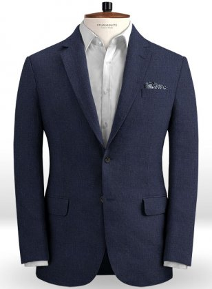 Dark Blue Pure Linen Jacket
