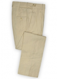 Pure Light Beige Linen Pants