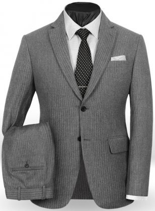Light Weight Gray Stripe Tweed Suit