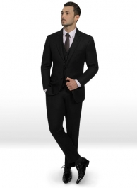Black Flannel Wool Suit