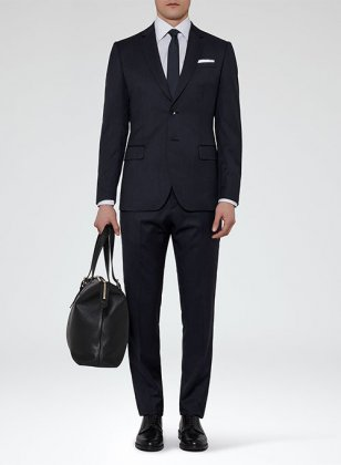 Navy Blue Merino Wool Suit